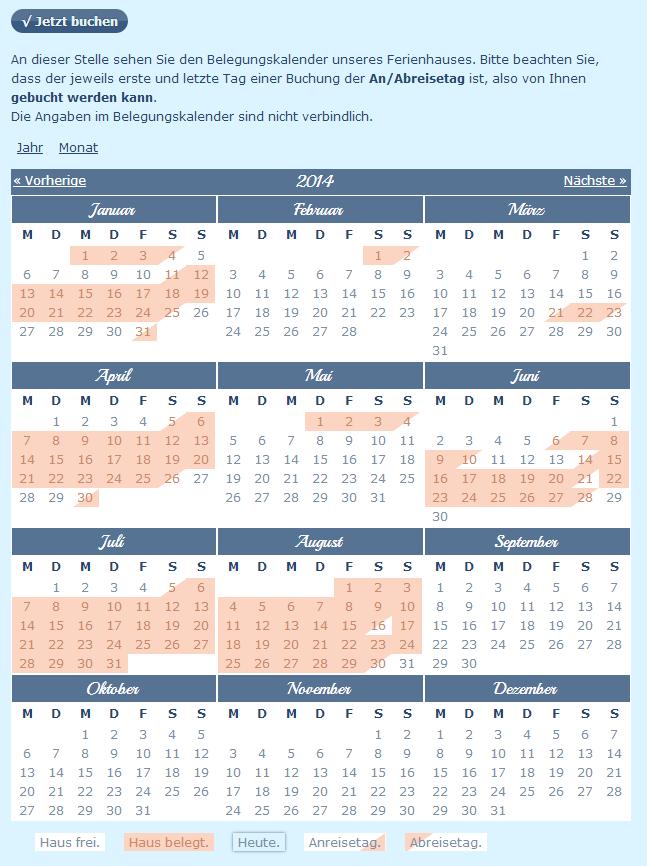 Buchungskalender Ferienwohnung via Drupal CMS