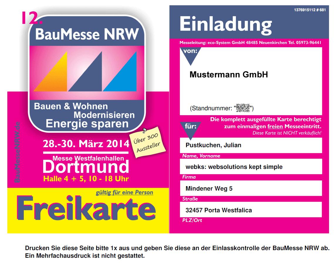 Entwicklung einer Generierung von Freikarten zur BauMesse NRW