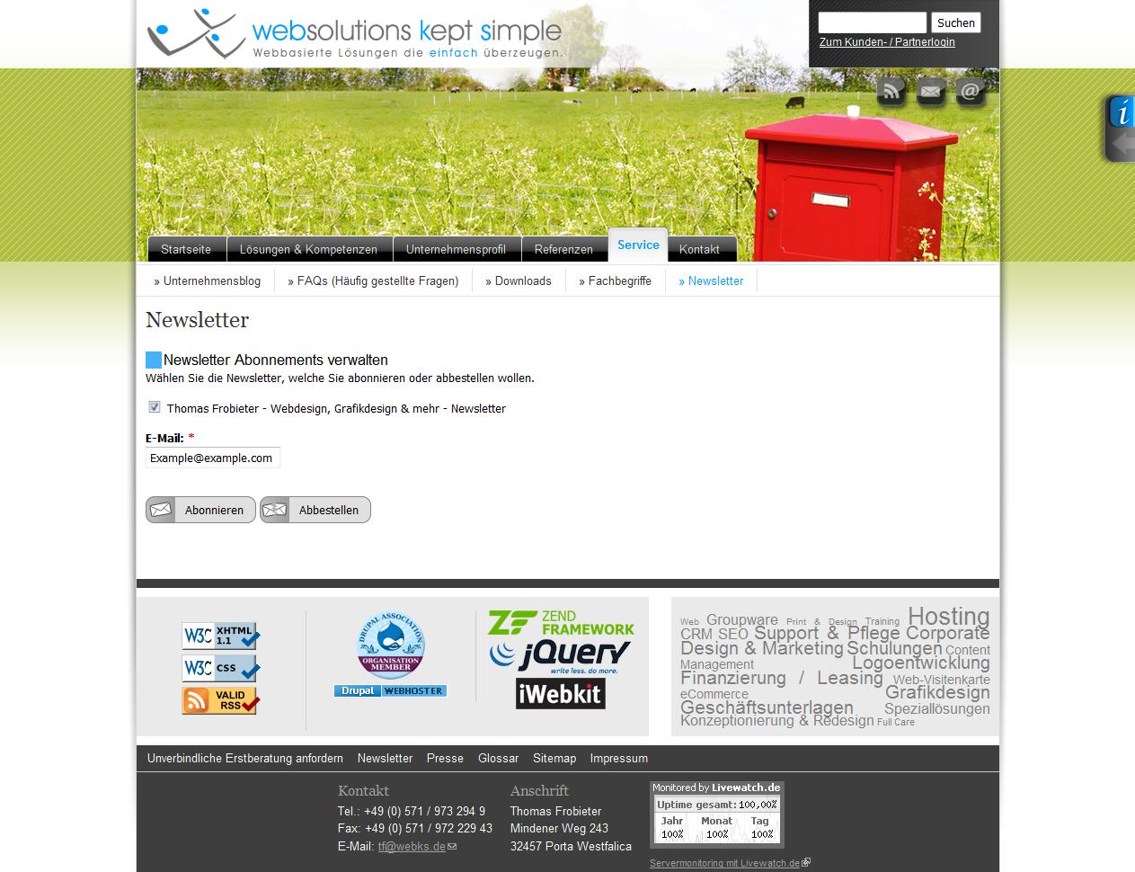 Double opt-in Abonnementformular für Newsletter