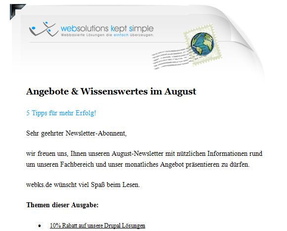 HTML Newsletter mit Standard Designvorlage websolutions kept simple