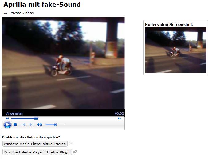 Integration eines hochgeladenen Videos durch Einsatz des Multimedia-Paketes.
