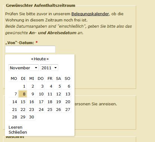 Drupal Belegungskalender Formular für eine Ferienwohnung in Grömitz, umgesetzt von DROWL.de