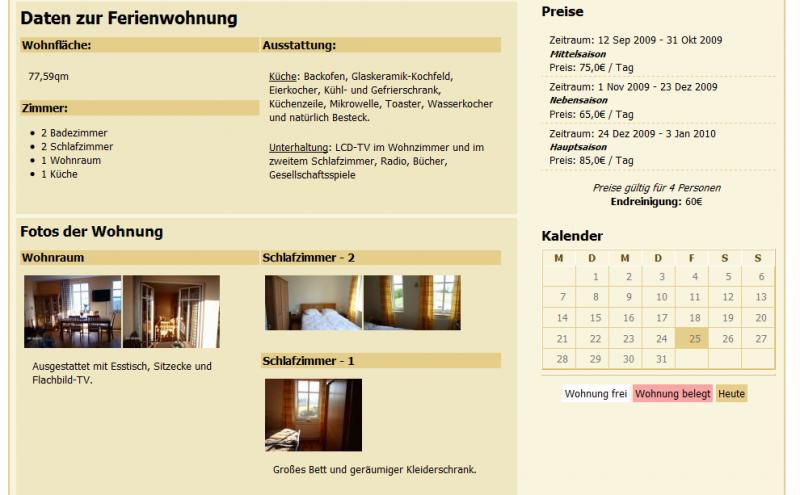 Das Event Paket im Einsatz zur Darstellung und Buchung der Belegung einer Ferienwohnung