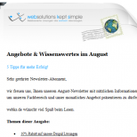 HTML Newsletter mit Standard Designvorlage websolutions kept simple