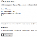 Verwaltung Newsletter Massenabonnement
