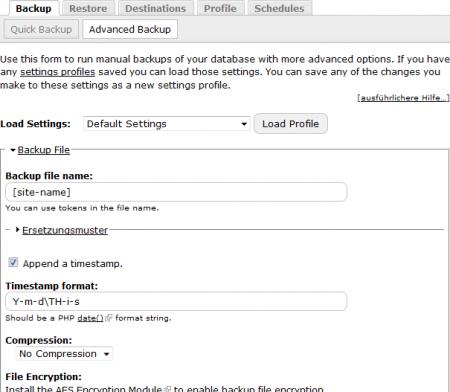 Automatisches (terminiertes) Backup oder manuelles Backup als Drupal Erweiterung zur Erhöhung der Sicherheit Ihres Drupal CMS.