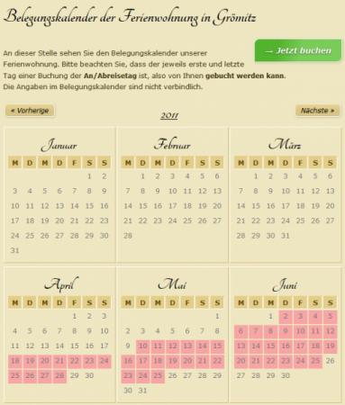 Drupal Belegungskalender für eine Ferienwohnung in Grömitz, umgesetzt von DROWL.de